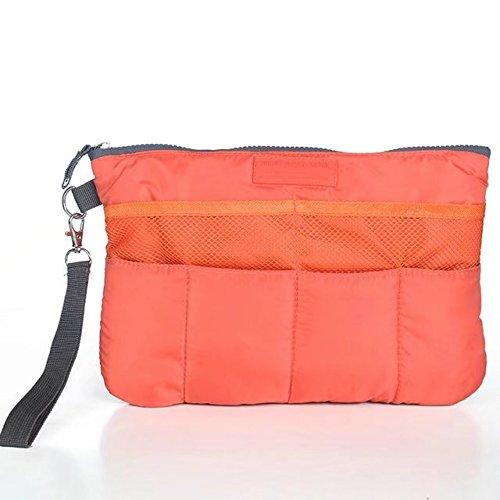 (Garrelett Multiple Pockets Cosmetic Bags Nylon Zipper Travel Organizer Case Toiletry Makeup Wash Handbag Pouch Tidy Insert Holder for Car Hotel Bathroom Home for Men or Women (Orange))