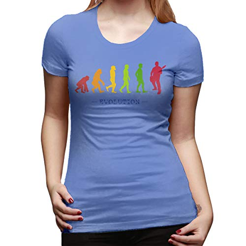 Burton Edith Guitar Player Evolution Guitarist Musician Women's Short Sleeve T Shirt Color Spider Baby Blue Size 30