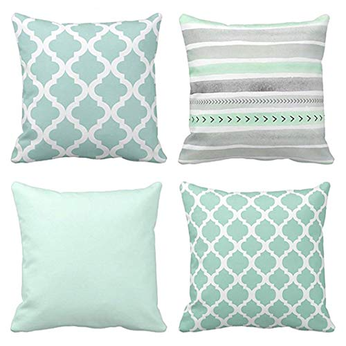 Green Watercolour - Emvency Set of 4 Throw Pillow Covers Mint Moroccan Green Quatrefoil Gray Watercolour Stripes Arrows Generic Solid Decorative Pillow Cases Home Decor Square 16x16 Inches Pillowcases