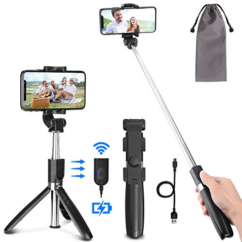 Bluetooth Selfie Stick Tripod,PEYOU Extendable Phone Tripod Stand with Wireless Remote Selfie Stick Compatible for iPhone 11/11 Pro/XS Max/XS/XR/X/8/7 Plus,for Galaxy S9 S8 S7 Note 9 8,Huawei, Google