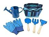 Wodar Kids Children Gardening Tools Set Garden Toys with Storage Bag (Blue)