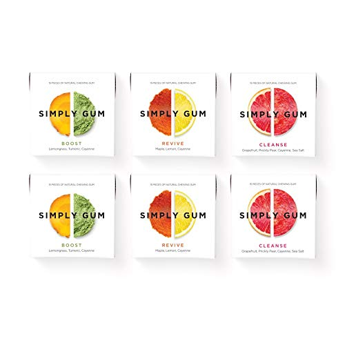 - Simply Gum | Chewing Gum | Variety Pack - Boost, Cleanse, Revive | Vegan + non GMO | 15 Pieces per Pack (Pack of 6)