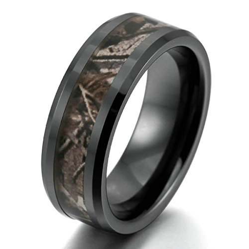 [KnSam Men Ceramic Bands Punk Round Comfort Fit Black Brown Size 10 [Novelty Ring]] (Hammer And Nail Halloween Costumes)