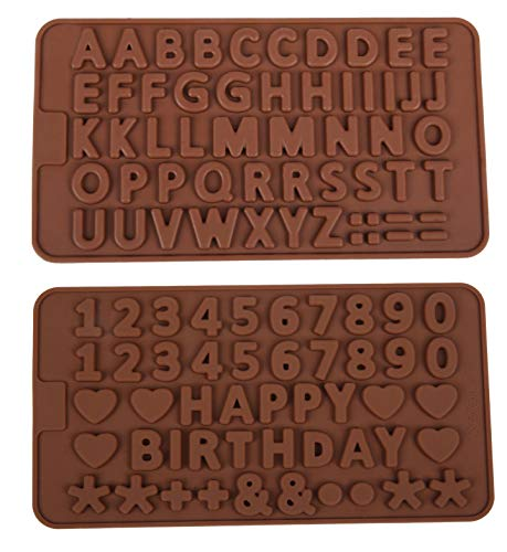 2PK A to Z Letters +Happy Birthday / Numbers /Symbols Mold Chocolate Decorating Silicone Tray (Ships From USA)