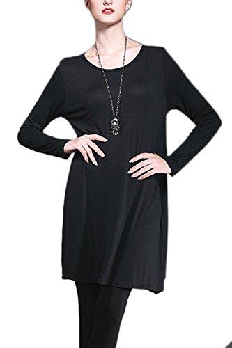 Camisas de moda T de mujer manga larga elegante Swing Black