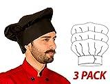 Hilite Uniform Item: 110BK, Adjustable Velcro Closure Classic Chef Hat, 3'' Headband, 13'' Tall - 3 Pack, Black