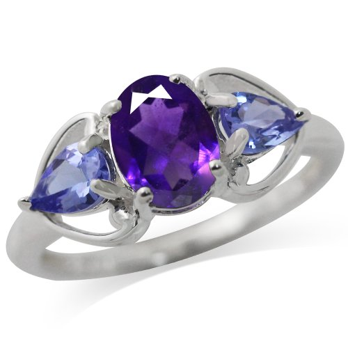 1.14ct. Natural Amethyst & Tanzanite 925 Sterling Silver Classic Ring Size 7