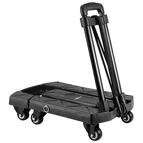 Ollieroo Cart Compact Personal Folding Hand Truck Luggage Cart with 6 wheels and Free Rope, 440 Lb Capacity Black by Ollieroo (Image #7)