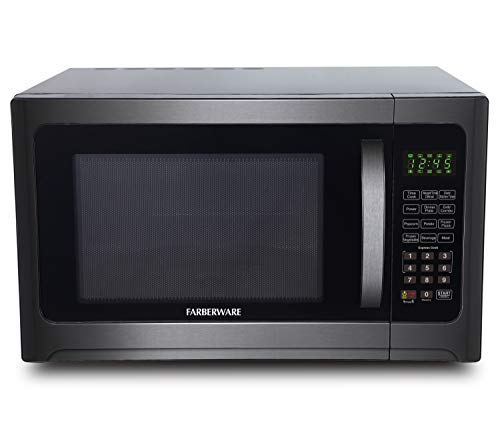 Farberware 1.2 Cu. Ft. 1100-Watt Microwave Oven with Grill ECO Mode and Green LED Lighting, Cubic Foot, Black Stainless…