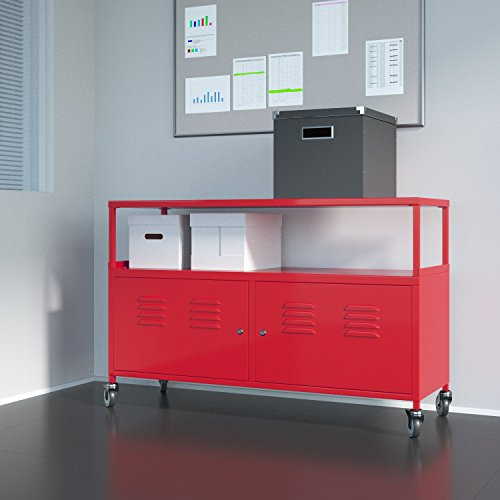 Tuscany Metal Lockable Storage File Cabinet With Rolling Casters , Red (Vintage Metal Lockers compare prices)