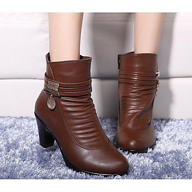 RTRY Women'S Shoes Pu Fall Winter Fashion Boots Combat Boots Boots Chunky Heel Square Toe Mid-Calf Boots For Casual Brown Black US6.5-7 / EU37 / UK4.5-5 / CN37 2XBJEdZYoK