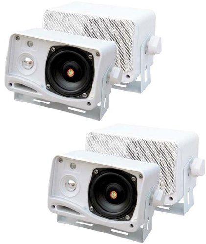 4) PYLE PLMR24 400 Watt 3 Way Marine Audio Boxed Mounted Mini Speaker - Way Watt Four Speakers 400