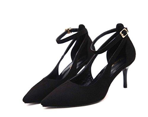 Sling Back High Heel Shallow Pointed Toe Hollow Mid/Low Heel D'orsay Kitten Heel Women Leather Shoes Female Autumn Wedding Shoes ( Color : Black , Size : 38 (Black Velvet Slingbacks)