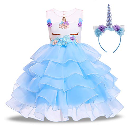 KABETY Baby Girl Unicorn Costume Pageant Flower Princess Party Dress with Headband (140cm, Ruffles Blue) ()