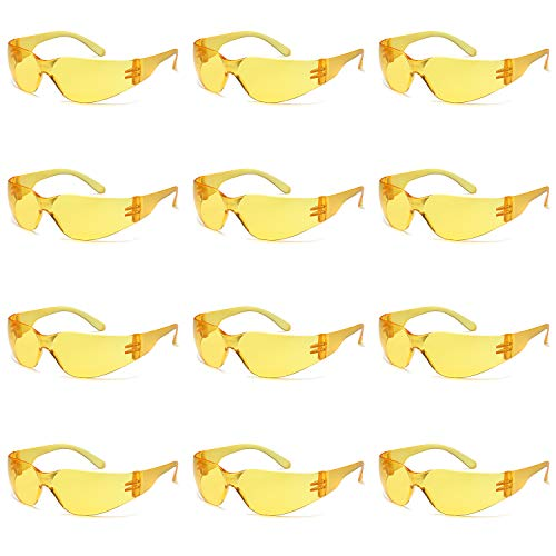 Shooting Glasses Yellow Lenses - TRUST OPTICS Z87 Safety Shooting Glasses 12 pairs UV400 High Contrast Yellow Protective Eyewear w Impact Resistant Shatterproof Lenses