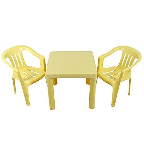 Kinder Sitzgruppe Tisch mit 2 Stühlen Kindertisch Kindermöbel Möbel Tisch Stuhl (gelb)