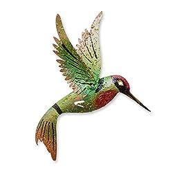 NOVICA 203978 Little Emerald Hummingbird Wall Sculpture, Iron