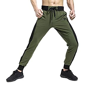 BROKIG Men's Gym Pants Sport Joggers Athletic Workout Slim Fit Sweatpants Mesh Trousers With Zipper (X-Large=(Tag XXL), Olive)