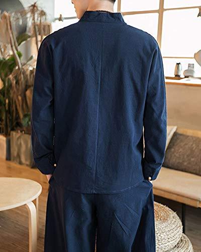 Casa Due Lino Da Lungo Set Pigiama Casual Uomo Blu Pezzi Di Abbigliamento zwUxFX