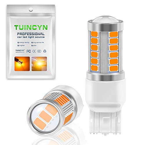 TUINCYN 7440 7441 992 T20 W21W LED Back Up Reverse Light Bulbs Amber Yellow 900 Lumens 5630 Chipsets 33SMD Super Bright Turn Signals Light Brake Stop Parking Light Tail Light Bulb(Pack of 2)