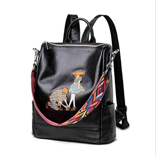 WSZMD Business Laptop Backpack Notebook Rucksack Korean Version of The Leather Backpack Simple Suede Leather Shoulder Bag Embroidery Dual-Use Multi-Purpose Backpack Travel Holiday - Sorter Shape Fabric