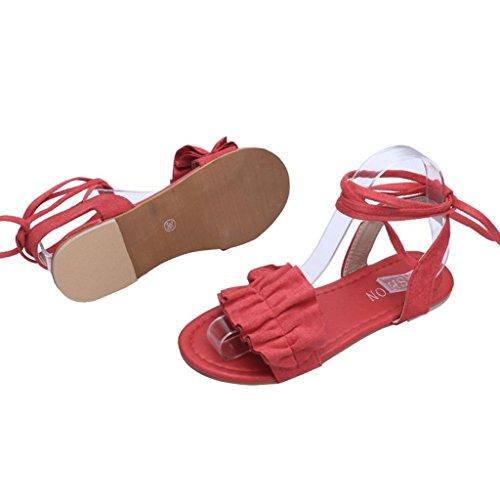 Toe Shoes Ruffles Rome Sandals Muium Round Women Heel Solid Fashion Flat Cross Red Color Tied Ladies 6nSnUTv