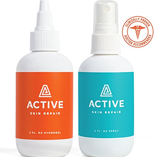 Active Skin Repair Healing Spray & Hydrogel Combo Pack- The Natural & Non-Toxic Skin Repair & Wound Care Products for Minor cuts, scrapes, rashes, sunburns, Skin irritations & More(3oz Bottles) ()