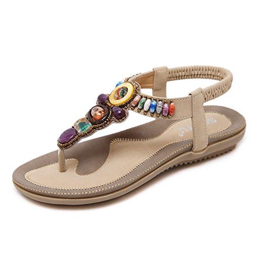 HILEELANG Women's Summer Flip Flops Beach Sandal Slip On Bohemian Beaded Ankle Strap Dress Shoes Apricot ()