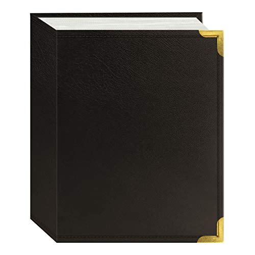 Pioneer Photo Albums 100 Pocket Brown Sewn Leatherette Cover with Brass Corner Accents Photo Album, 4 by 6-Inch
