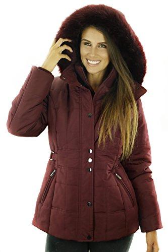 Sportoli Women's Fashion Winter Puffer Coat with Plush Lined Detachable Hood Pinot Small