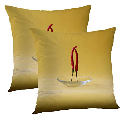 - Batmerry Love Pillow Decorative Throw Pillow Covers 18x18 Inch Set of 2, Red Chili Pepper Two Dancing Abstract Double Sided Square Pillow Cases Pillowcase Sofa Cushion