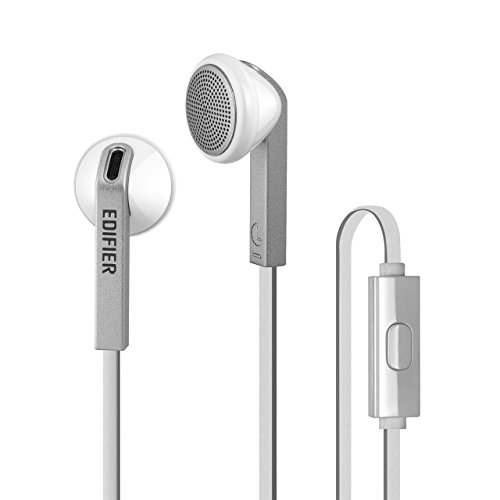 Edifier P190 Premium Earbuds Headset - Hi-Fi Classic Earbud Style Headphones - Comfortable Fit Earphones with Microphone - White