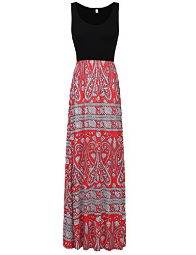 - Sherosa Women Boho Chevron Striped Floral Printed Summer Sleeveless Tank Long Maxi Party Dress