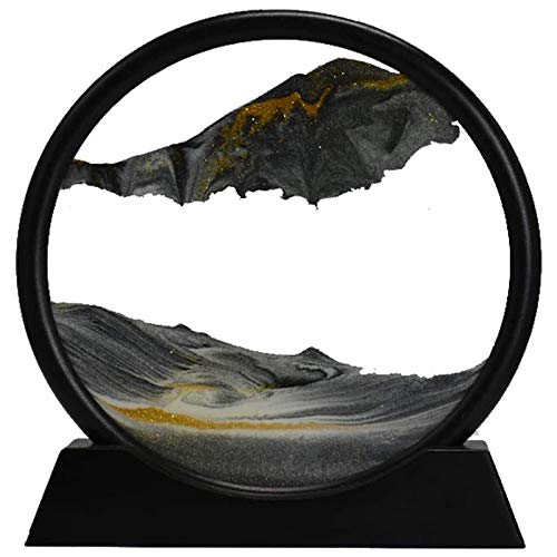 Cavis Moving Sand Art Picture Round Glass 3D Deep Sea Sandscape in Motion Display Flowing Sand Frame(7inch)
