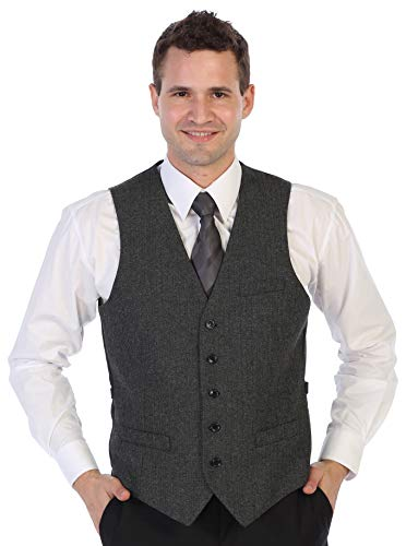Gioberti Men's 5 Button Slim Fit Formal Herringbone Tweed Suit Vest, Herringbone Charcoal, Size Large