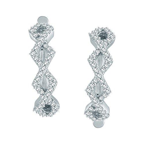 Giantti Diamant pour femme Boucles d'oreilles créoles (0.344CT, qualité HSI, Gh-colour)