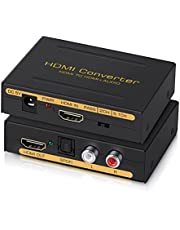 avedio links 4K@60Hz HDMI Audio Extractor Converter, HDMI to HDMI + Audio ( SPDIF + RCA L/R Stereo ), HDMI Video Audio Splitter Embedder Adapter for Fire Stick, Xbox, PS5, Support 3D, HDCP 2.2, 18Gpbs