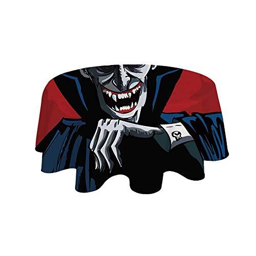 YOLIYANA Vampire Waterproof Round Tablecloth,Cartoon Cruel Old Man with Cape Sharp Teeth Evil Creepy Smile Halloween Theme for Living Room,27