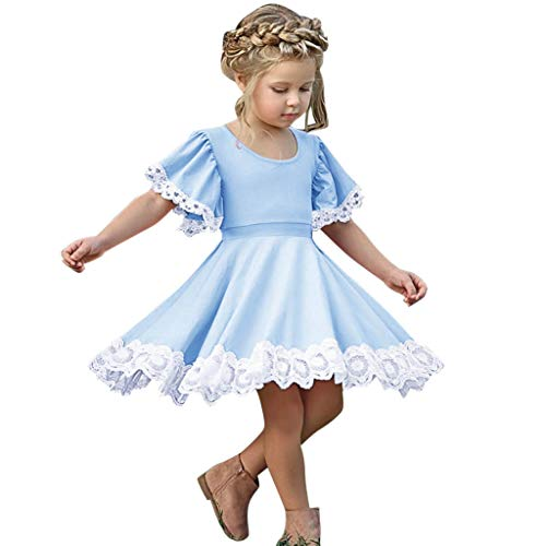 - Baby Girl Princess Dress Wedding Party Mini Dresses Kids Summer Lace Floral Short Sleeve A-line Pleated Skirt Blue