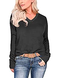 Womens Fall Basic Long Sleeve V Neck T-Shirts Casual Tops