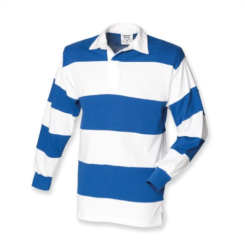 Front Row Sewn Stripe Long Sleeve Rugby Shirt - White & Navy (White Collar) - XL ()