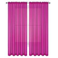 """WPM 2 piezas Hermosa ventana transparente Cortinas /cortinas Elegance /Paneles /Tratamiento 60 """"w x 84"""" l (rosa fuerte)"""