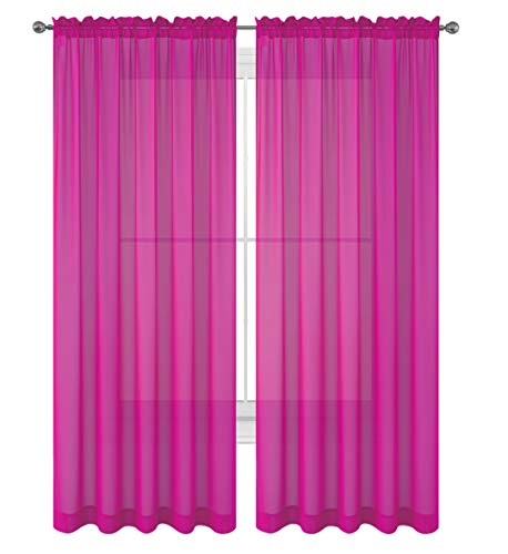 Drape/Panels/Scarves/Treatment Beautiful Sheer Voile Window Elegance Curtains Scarf for Bedroom & Kitchen Fully Stitched and Hemmed, Set of 2 Hot Pink (Hot Pink, 84