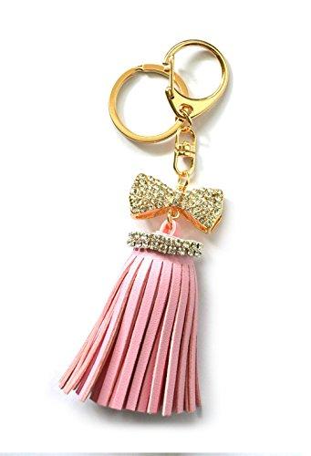 Gold Rhinestone Jeweled Bowtie Charm Pink Faux Leather Fringe Tassel Pendant Key Chain Gift Stocking Stuffer