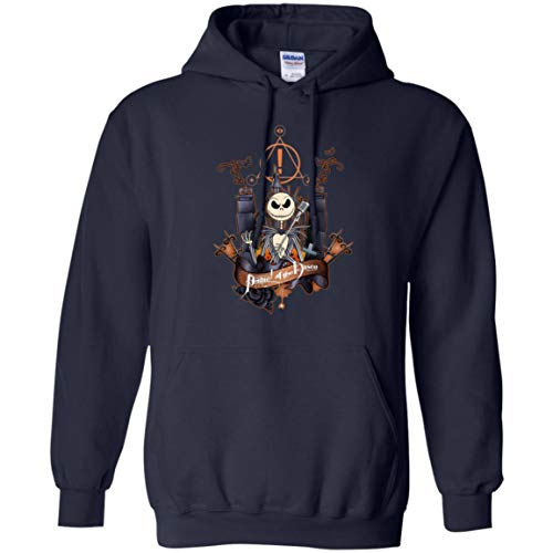 Jack Skellington, Panic at The Disco T Shirt Halloween for Men, Women and Youth (Hoodie; Navy; XXXX-Large)]()