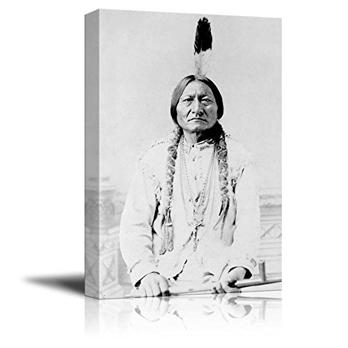 Bull Indian Print (Portrait of American Indian Chief Sitting Bull - Inspirational Famous People Series | Giclee Print Canvas Wall Art. Ready to Hang - 12