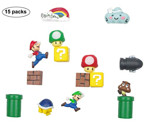 15 Packs 3D Super Mario Fridge Magnets Set For Decorative Refrigerator,Fun School Office Whiteboard Magnet