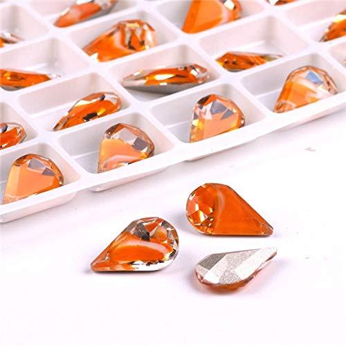 Calvas 48pcs/lot 8x13mm Melon Seeds Bridal Wedding Flower Crystal Rhinestone Hair Clip Colorful Mixed Size DIY for Nail Decoration - (Color: 8x13mm Orange)