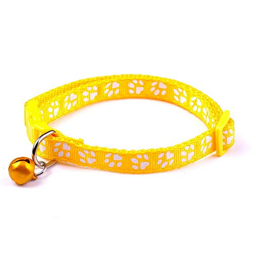 Hebel Dog Cat Footprint Necklace Collar Adjustable Pet Puppy Nylon Fabric with Bell   Model NCKLCS - 27500  