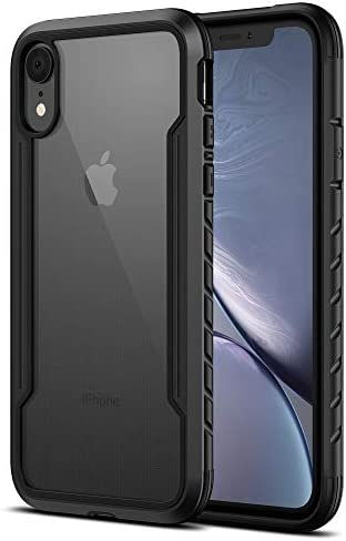MRYUESG iPhone XR Case Clear 6.1 inch, Phone case iPhone XR Cases Thin with Silicone Durable Soft Bumper, Transparent Hard Back, Aluminum Frame, Heavy Duty Shockproof Protective Cover for Men (Black)